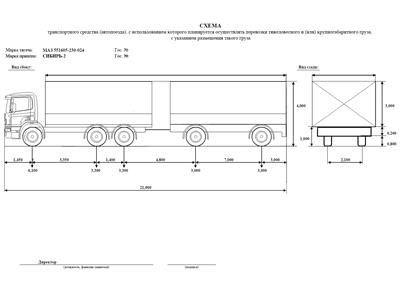 Спец. разрешение на перевозку негабарита схема транспортного средства