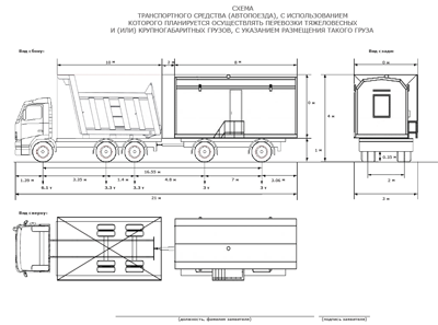 Схема транспортного средства для разрешения на перевозку негабарита